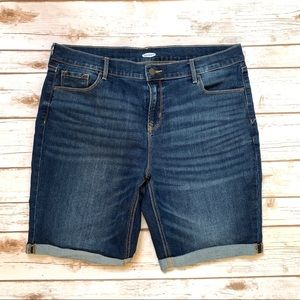 Old Navy 14 Bermuda Jean Shorts Stretch Roll Cuff